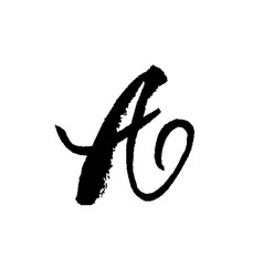 letter a handwritten by dry brush rough strokes vector image