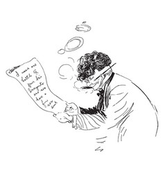Man writing letter or letter writing vintage vector