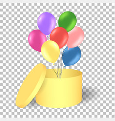 open gold gift box with balloons vector image