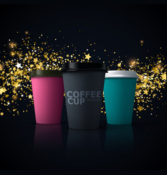paper coffee cups mockup vector image vector image