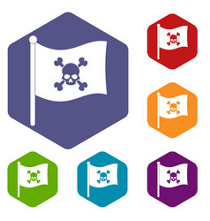 Pirate flag icons set hexagon vector