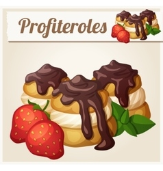 Profiteroles with chocolate and strawberry vector