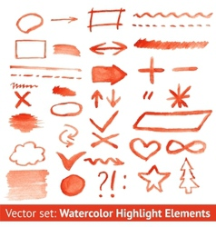 Set of red watercolor highlight elements vector