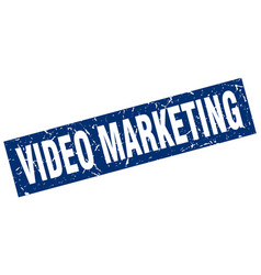 Square grunge blue video marketing stamp vector