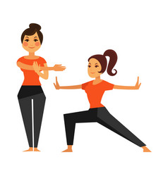 two female people warming up before karate class vector image