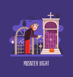 vampire night halloween card vector image
