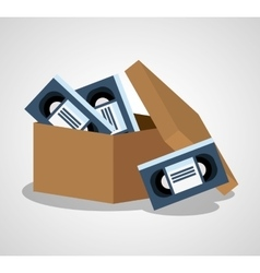 Vhs box film and movie design vector