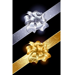 Gold and silver bow vector image