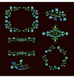 Floral design elements set ornamental frames vector