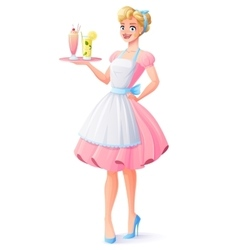 Housewife with apron holding tray with vector