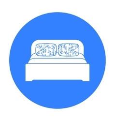 Wooden double bed icon in black style isolated on vector