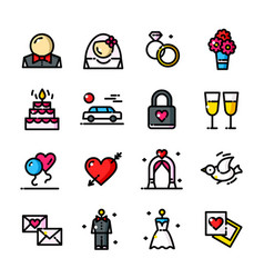 line wedding day icons set vector image