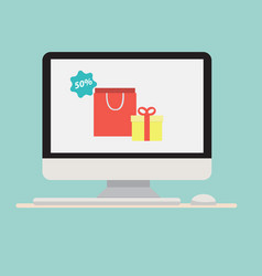 Computer with gift shopping bag icon vector