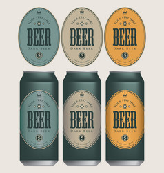 Sample three beer cans with labels vector