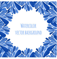 Blue floral banner frame in russian gzhel style vector