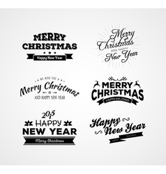 Christmas and new year calligraphy set vector