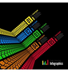 Tire tracks infographics background vector image