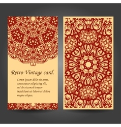Set retro business invitation card vector
