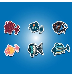 Olor icons with different fish vector