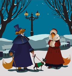 foxes winter vector image