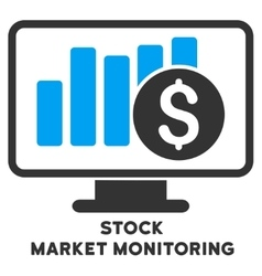 Stock market monitoring icon with caption vector