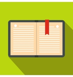 Open notebook with bookmark icon flat style vector