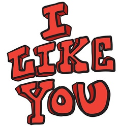 I like you freehand drawn cartoon symbol vector