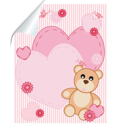 abstract background with hearts and bear vector image vector image