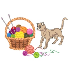 Basket with balls of yarn and cat vector image vector image