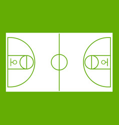 basketball field icon green vector image vector image