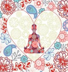 Beautiful background love yoga vector