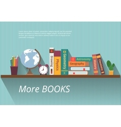 Books on bookshelf vector image