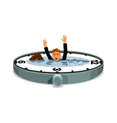 Businessman drowning in time vector image vector image
