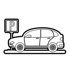 Car and street sign vector