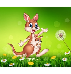 Cartoon funny kangaroo carrying a cute joey vector