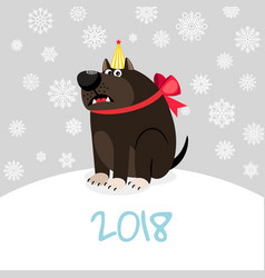 China zodiac dog happy new card vector
