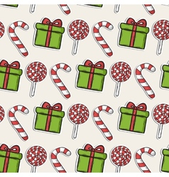 Christmas pattern with candy and green gifts vector