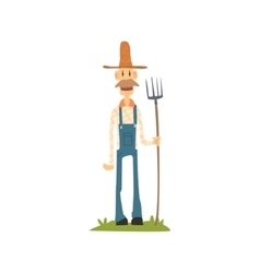 Classic skinny farmer in jumpsuit vector