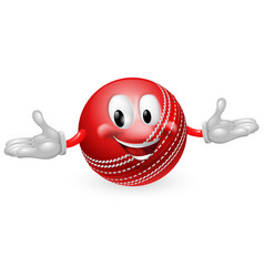 cricket ball mascot vector image vector image