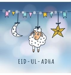 Eid-ul-adha mubarak greeting card with sheep moon vector