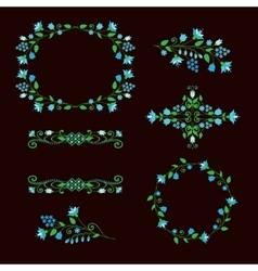 Floral design elements set ornamental frames vector image vector image