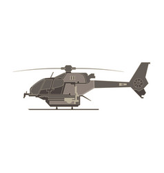 helicopter flat icon isolated aircraft military vector image vector image