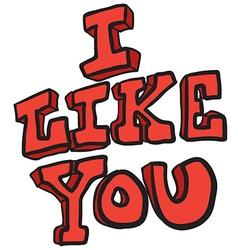 I like you freehand drawn cartoon symbol vector image vector image