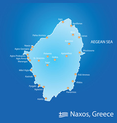 Island of naxos in greece map in colorful vector
