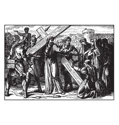 Jesus carries his cross and comforts the women vector