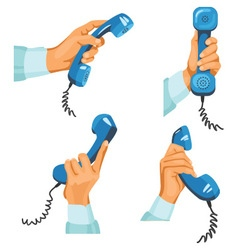 Male hands with telephones in them vector