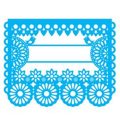 Mexican papel picado blank text template design vector