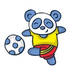 Panda playing football vector