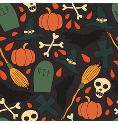 Pattern with traditional halloween elements vector