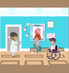 people line at hospital and doctor vector image vector image
